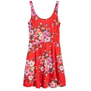 Red bright floral jersey dress from H&M